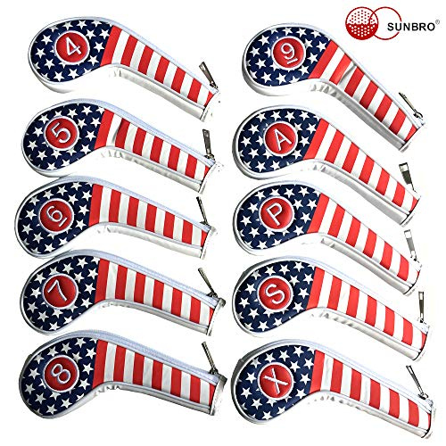 SUNBRO Golf 10pcs (4,5,6,7,8,9,A,P,S,X) Thick Synthetic Leather USA Flag Golf Iron Head Covers Set Headcover Fit All Brands Titleist, Callaway, Ping, Taylormade, Cobra Etc.Zipper Closure