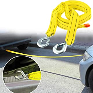 13.12ft RENNICOCO Car Tow Rope Straps with Hooks 5 Tons 4 Meters with Vehicle Storage Bag High Strength Emergency Towing Rope Cable Cord Heavy Duty Recovery Securing Accessories for Cars Trucks