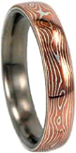 Copper and Silver Mokume Gane 6mm Comfort Fit Titanium Band