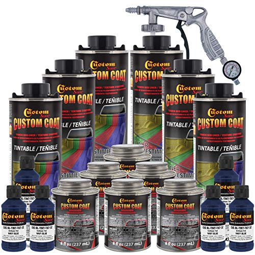Custom Coat Federal Standard Color # 35048 Navy Blue Urethane Spray-On Truck Bed Liner, 1.5 Gallon Kit with Spray Gun and Regulator - Durable Textured Protective Coating - Car Auto