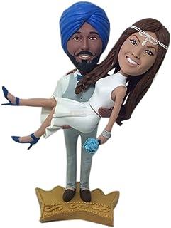 Indian Sposo Sposa Personalizzata Torta nuziale Topper Bobble Head Figurina di argilla basata sulle foto dei clienti Tradi...