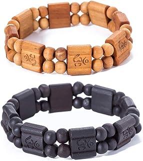2pcs Natural Wood Wrap Bracelet for Women Men Light Dark Brown Beads Wristband Bracelet