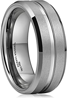 King Will Classic 8mm Men's Silver/Gold Tungsten Ring Wedding Band High Polished Center/Matte Finish Comfort Fit