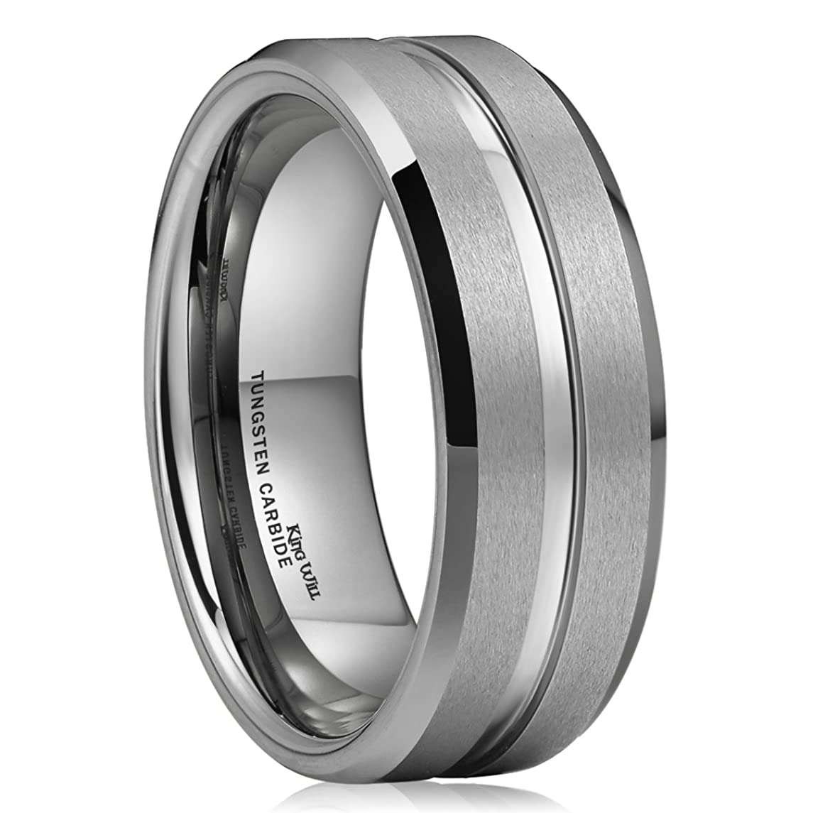 King Will CLASSIC 8mm High Polished Center/Matte Finish Men's Tungsten Ring Wedding Band Comfort Fit