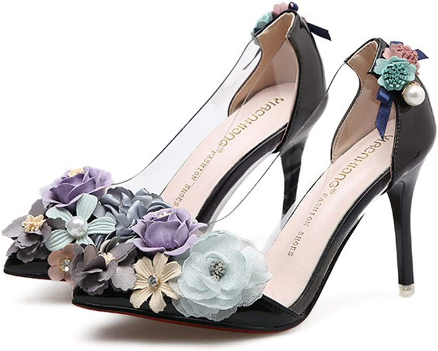 SUNNY Store Wedding shoes Waterproof Platform Sexy Flower Shallow Women's shoes Waterproof Table Thick with Bride Lace