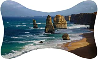 ALUONI Coastal Decor Durable Car Headrest Pillow,12 Apostles in Australia Rock Face Lookout by The Sea Sightseeing Panoramic Picture for Car,10.2