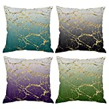 Set of 4 Throw Pillow Cover Ombre Gradient Glitter Marble Teal Black Purple Mint Emerald Green Gold Cracked Line 18x18 Decorative Cushion Cover Home Decor Spring Fall Hidden Zipper Pillow Case Counch
