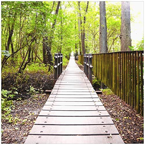 Wallario Möbeldesign/Aufkleber, geeignet für IKEA Lack Tisch - Spaziergang im Wald Holzweg über einen Fluss in 55 x 55 cm
