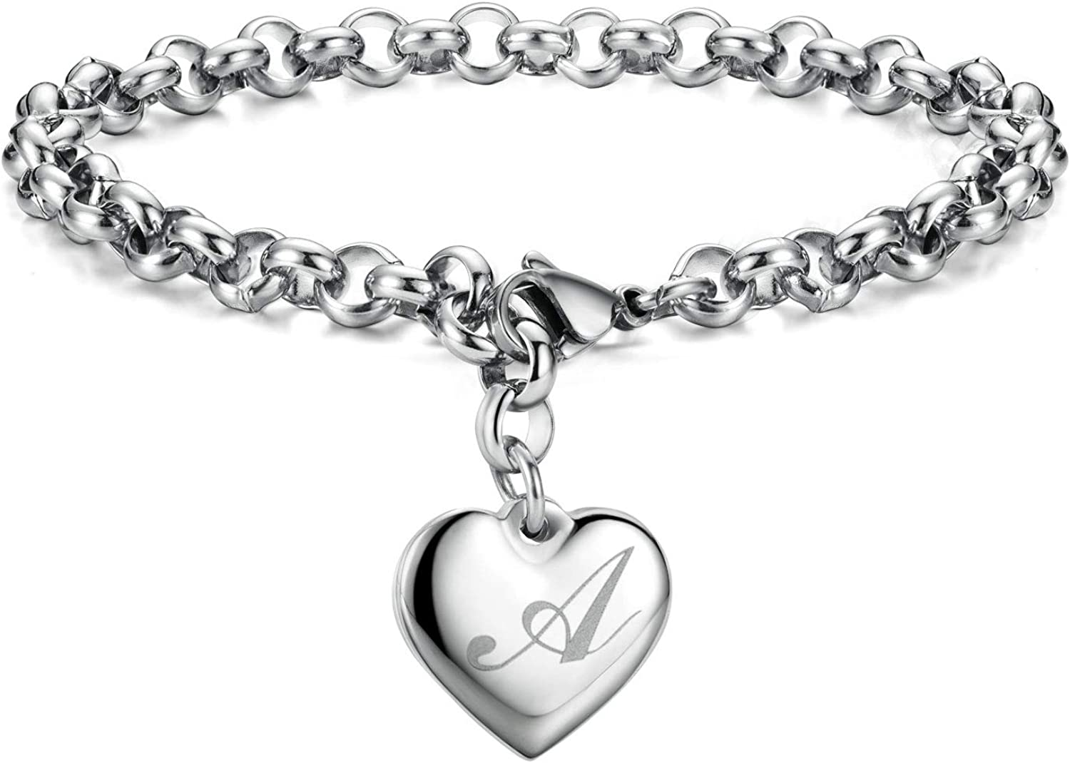 Initial Charm Bracelets Stainless Steel Alphabe Heart Don't miss the campaign New popularity Letters 26