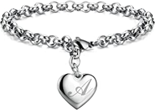 Initial Charm Bracelets Stainless Steel Heart 26 Letters Alphabet Bracelet for Women, Valentine's Day Gifts