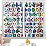 Cortinas opacas con diseño de piedras preciosas coloridas de 52 x 84 pulgadas de ancho x 84 pulgadas de largo para habitación de niños