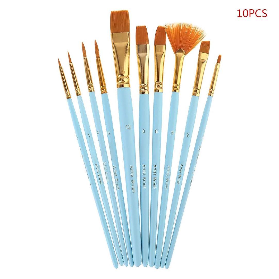 教師の日直立収縮10個 ペイントブラシセット ナイロンヘア 絵筆 油 アクリル水彩 ペン 専門画材