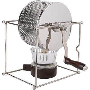 コーヒーロースター、ミニマニュアルエスプレッソコーヒー豆焙煎機DIYステンレススチールローラーピーナッツ栗豆用ハンドル付きコーヒーロースターグリル