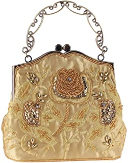 Songlin@yuan Retro Beaded Sequins Evening Bags Women's Beaded Embroidery Banquet Clutch Chain Shoulder Messenger Bag Size: 21 * 6 * 17CM (Color : Gold)