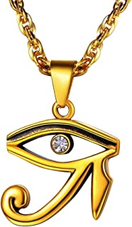 PROSTEEL Eye of Horus Ankh Cross Necklace, Ancient Egyptian Symbol of Protection, Stainless Steel, Men Women Jewelry