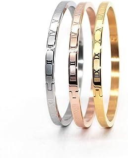 اساور مطلية بالذهب والفضة باللون الذهبي الوردي للرجال النساء، اساور الارقام الرومانية من الستانلس ستيل بنقوش مخصصة للجنسين