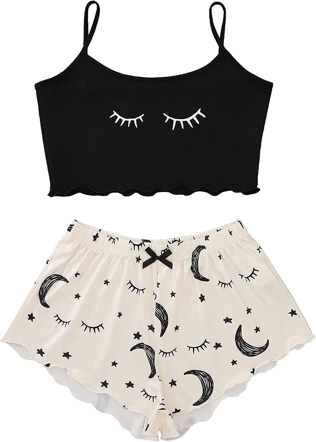 Sleepwear for Women, Sexy Sleeveless Sling Crop Tops Shorts Pajamas Set Cute Moon Printed Two Piece Outfits Tracksuit