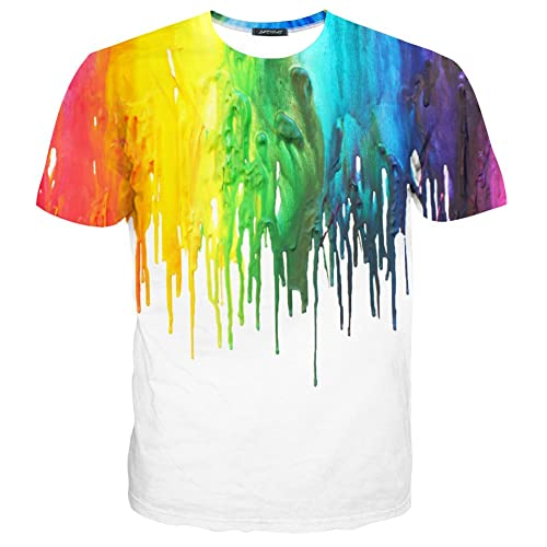 d2ff9950 Yasswete Unisex Tops 3D Pattern Printed Short Sleeve T-Shirts