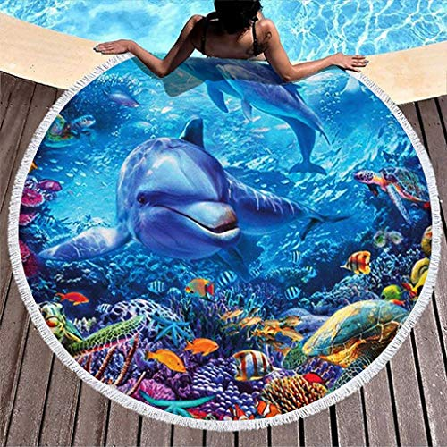 Wecrayon Ozean Delfin Strandtuch Groß Rund Microfaser Strandtücher Schnelltrocknend Strandhandtuch Badetuch Picknickdecke Strandmatte Yogamatte Strandwurf für Outdoor & Reisen White OneSize