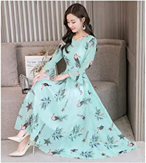 ABDKJAHSDK High Quality Autumn New Large Size S-Xxxl Fashion V-Neck Trumpet Sleeve Flower Print Ladies Long Chiffon Dress