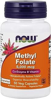Now Supplements, Methyl Folate 5000 mcg, Superior Bioavailability, 50 Veg Capsules