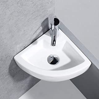 Bathroom Vessel Sink, White Ceramic Countertop Porcelain Bathroom Sink High-grade Cloakroom Faucet Hand Wash Basin (Corner)