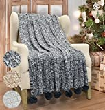 Catalonia Cable Knit Throw Blanket, Reversible Soft Pom Pom Throws Warm Crochet Sweater Blanket with Gift Box for Bed Couch Travelling 60x50 Black