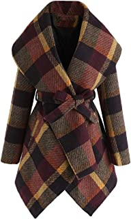EnergyWD Women's Pea Coat Mid Length Lace Up Casual Plaid Lapel Coat