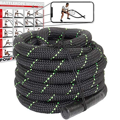 POWRX Battle Rope Schwungseil I Ø 38 mm I Trainingsseil Sportseil Schlagseil Tau Seil für Fitness Kraft Training I versch. Länge I Wandhalterung optional (9 m)