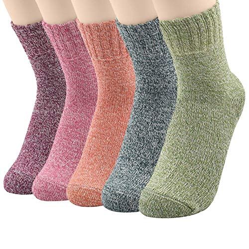 Century Star Cashmere Wool Full Cushion Womens Crew Dress Socks, One Size, 5 Pack Solid Color1