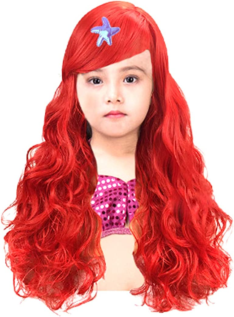 Red Kids Girls Mermaid Princess Dress up Synthetic Hair Wigs Starfsh Hair Clip
