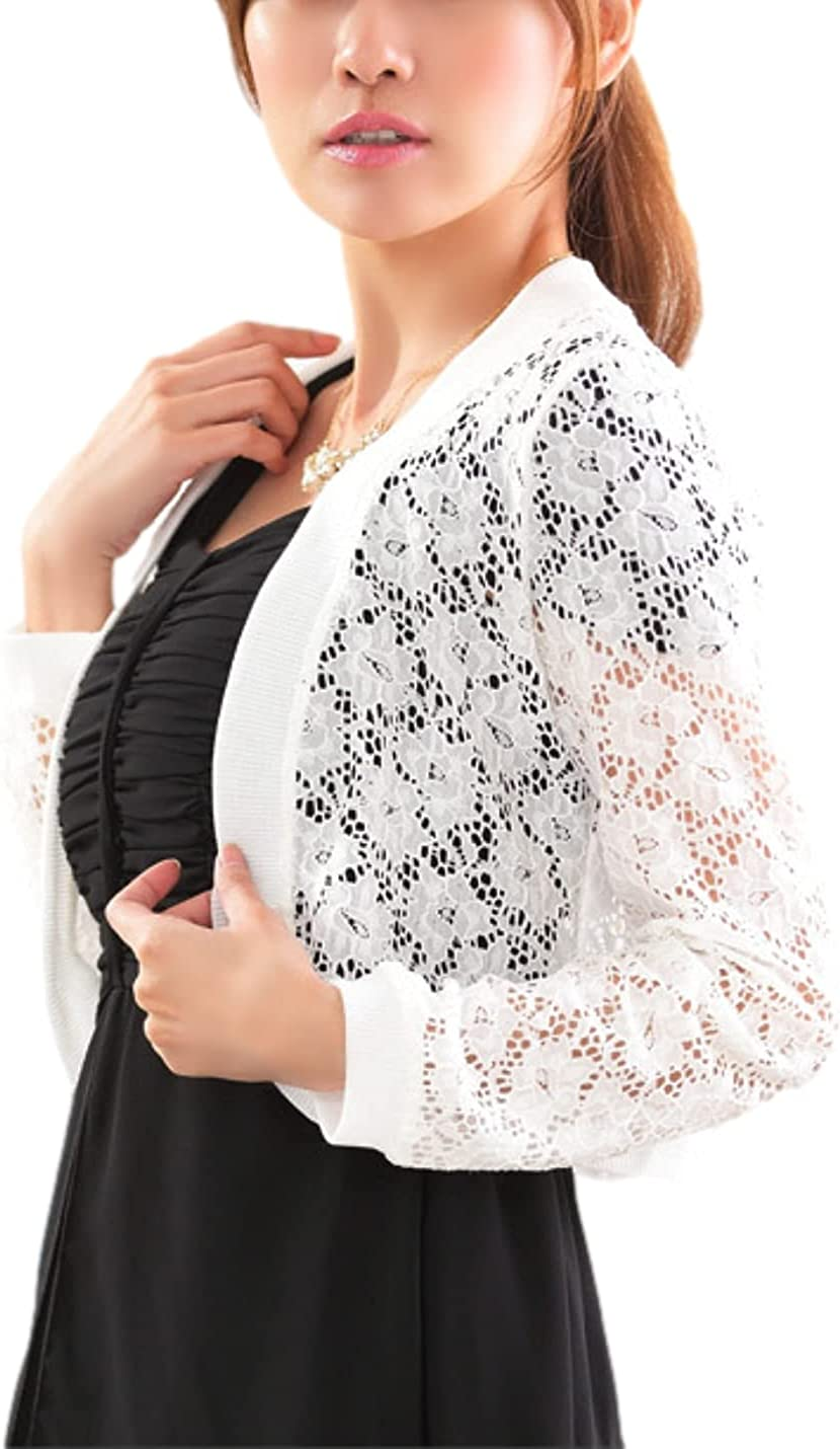 Bnigung Women's Casual Lace Shrug Bolero Long Sleeves Open Front Cardigan