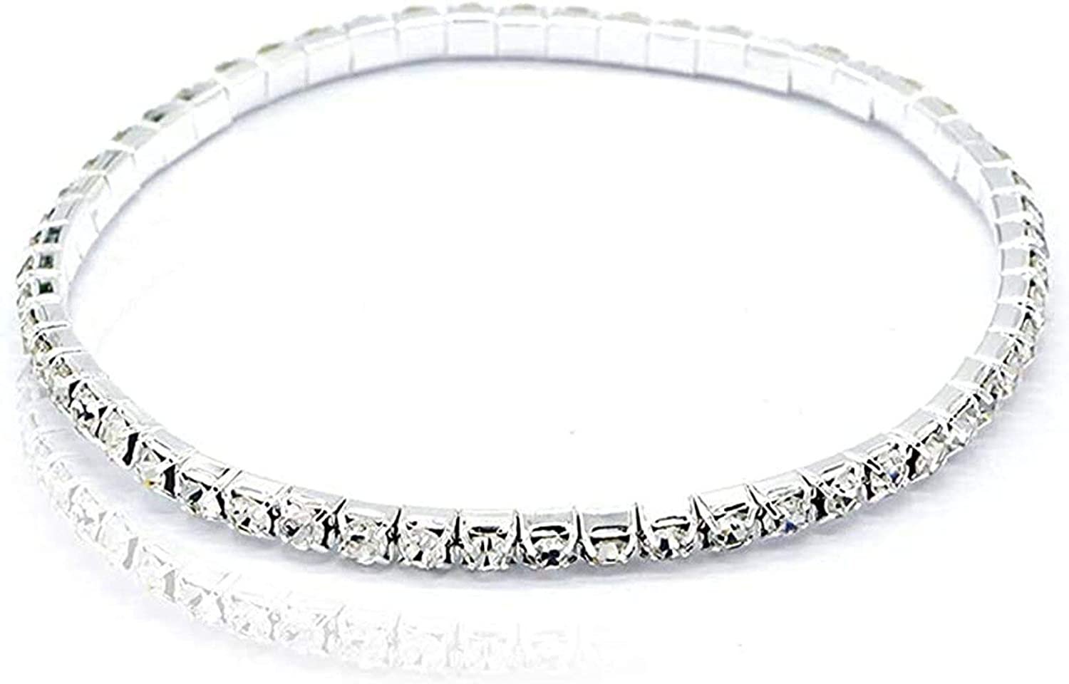 Hithop Crystal Anklet Sexy Rhinestone Stretch Anklets Tennis Ankle Elastic Bracelets for Women-1 Row
