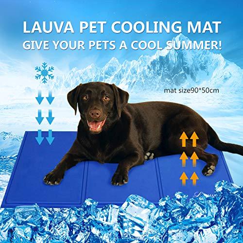 Lauva Hund cool matta säng stor storlek, husdjur självkylande matta giftfri gel isdynor för människor vuxna kudde soffor, sommar sovmadrass tillbehör för katter valp hem och resor – 90 x 50 cm (36 tum x 20 tum)