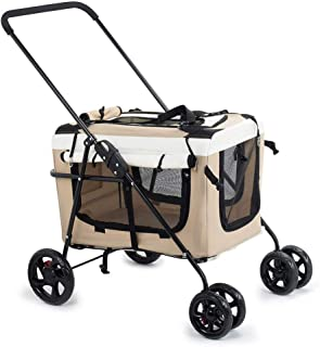 Pet stroller Outdoor Travel Pet Stroller,Foldable 4-Wheel Pet Stroller,Pet Supplies,Lightweight and Portable Pet Stroller, for Small and Medium Pets (Color : Khaki)