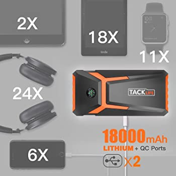 TACKLIFE T8 800A Peak 18000mAh Car Jump Starter (up to 7.0L Gas, 5.5L Diesel engine) with LCD Screen, USB Quick Charg...