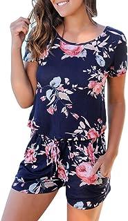 4c04e5d0fc0 Sumen Women Floral Print Short Sleeve Jumpsuit Summer Playsuit Beach Rompers