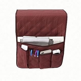ISKYBOB Control Remoto de TV y Organizador de apoyabrazos - Sofá Bandeja de Brazo y cajón de Bolsillo como Soportes para Libros, teléfonos celulares (Marrón)
