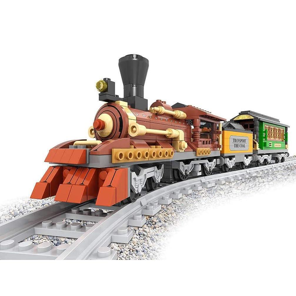 ビバ押す薬剤師Bestoyz X オージニ クラシック スチームコーラル&ウッド トランスポーター ビルディングブリックセット 収集 古い時代の鉄道トレイン トラックキット おもちゃ 子供用 (483ピース)