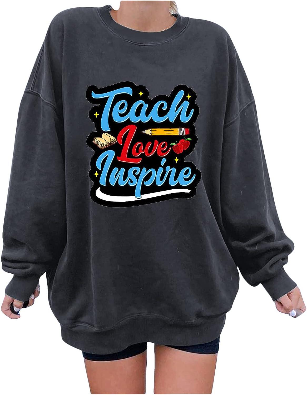 Women's Vintage Graphic Oversized Crewneck Sweatshirts Fall Print Loose Long Sleeve Blouses for Women Fashion 2021