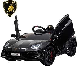 IKON MOTORSPORTS 12V Kids Ride on Car, Licensed Lamborghini Aventador SVJ w/ Remote Control, Suspension, Opening Doors, Power Display & MP3 (Black)