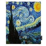 Moslion Van Gogh Throw Blanket Classic Arts Starry Night Farmhouse Sky Moon Blanket King Size Flannel Blanket 60x80 Inch for Sofa Bed Women Men