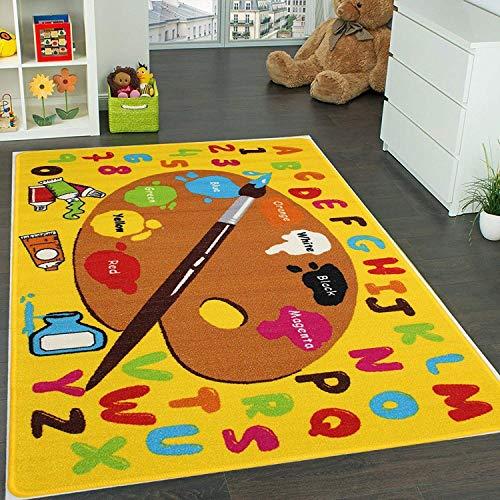 "Mybecca Kids Rug Kids ABC Little Artist Area Rug Educational Alphabet Letter & Numbers 7' feet 2"" inch 10' ft (7'2"" X 10')(239cmx343cm) Non Slip Gel Backing Activity Centerpiece Play Mat"