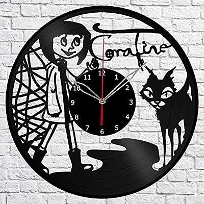 Amazon Com Vinyl Clock Coraline Vinyl Art Home Decor Black Clock 12 30 Cm Original Gift Idea Exclusive Custom Vinyl Record Clock Sraft Wall Clock Unique