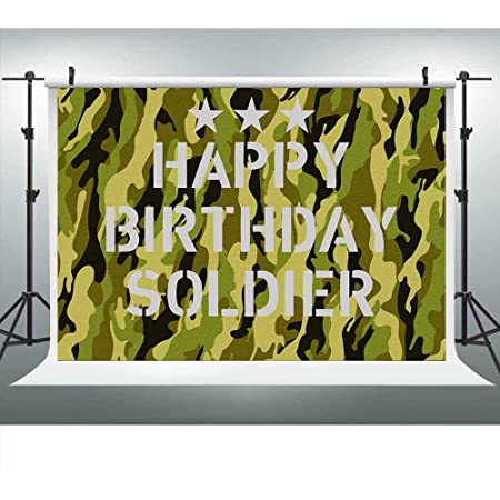 military  Birthday  customized round Photography  Backdrop Banners PRINTED theme party background