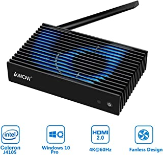 AWOW NV41 Fanless Mini PC Intel 8th Gen Celeron J4105 up to 2.5Ghz/Windows 10 Pro/4GB DDR4/64GB SSD/4K/Dual-Band Wi-Fi/Gigabit Ethernet/HDMI 2.0/VGA/BT4.2/Mini Desktop Computer