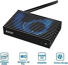 Fanless Mini PC Intel 8th Gen Celeron J4105, 4GB DDR4, 64GB SSD, Windows 10 Pro, AWOW NV41 Mini Fanless Desktop Computer, up to 2.5Ghz, 4K, Dual-Band Wi-Fi, Gigabit Ethernet, HDMI 2.0, VGA, BT4.2