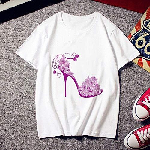 Fad Fashion Hoge hakken Gedrukte vrouwen T-shirt Tees Tops Kleding Nieuwe Zomer T-shirt Personality Slijpplaatje Female (Color : YH-1856, Size : L)