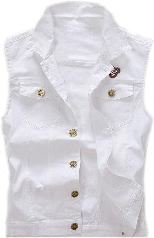 YeSiYan Men's Comfortable Stylish Cool Outwear Denim Vest Jacket White