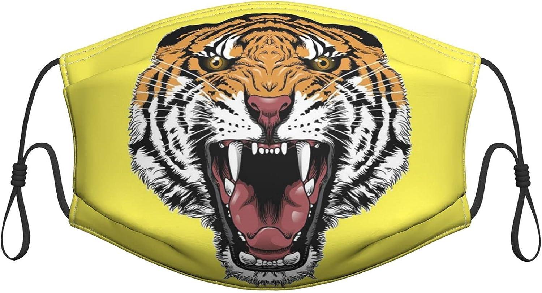 Máscara facial lavable con cabeza de tigre, cubrebocas reutilizables de algodón, pasamontañas antipolvo, protección bucal con bucles ajustables para adultos y mujeres, hombres, 1 unidad